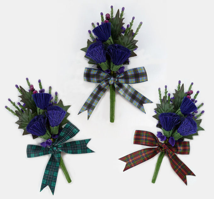 Corsages, Tartan Buttonholes, Pack of 10 in ANY Tartan