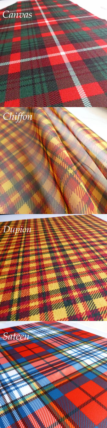 Fabric Panel,  Choice of 4 Materials in Any Tartan
