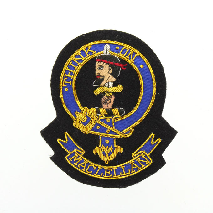 Clan Crest Badge, Hand Embroidered, Clan MacLellan