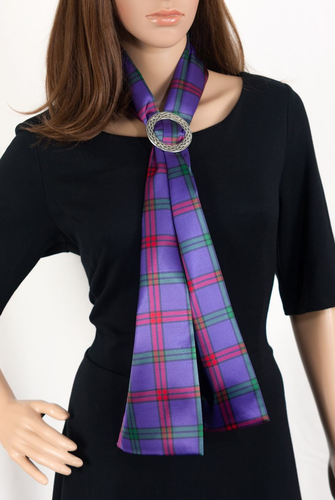 Ladies Scarf in Any Tartan with Celtic Ring