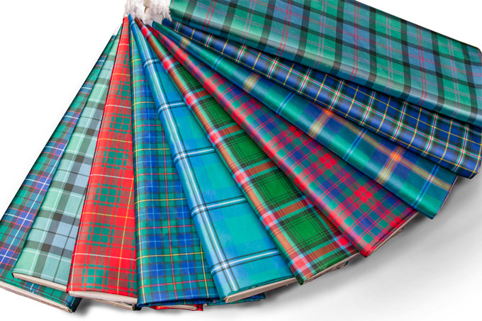 Fabric, Tartan, Silk-effect Polyester, in 12 STOCK Tartans