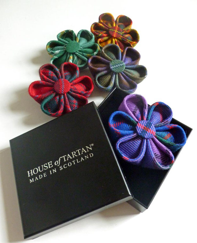Rosette Brooches, Hand Made, Stock Tartans