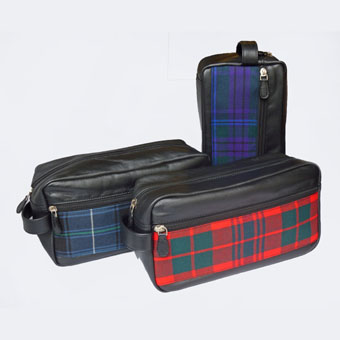 Leather & Tartan Wash Bag