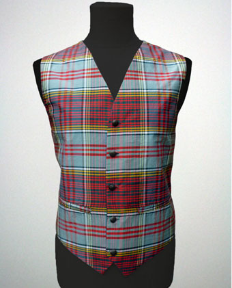 Waistcoat, Vest , Dupion Silk Tartan, in choice of 13 Tartans